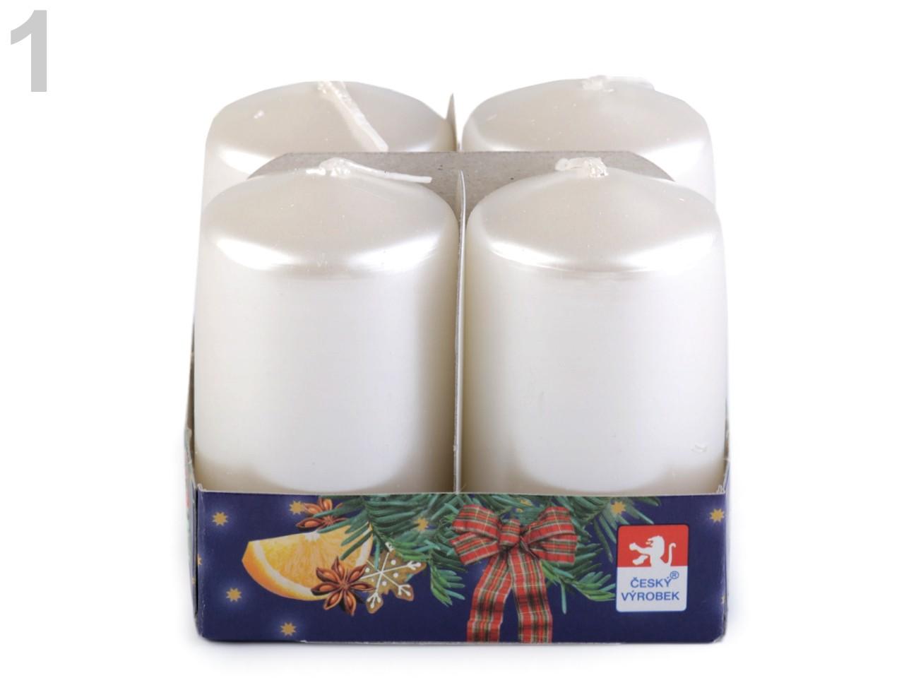 Adventní svíčky 4x7 cm válec 4ks - 21 Kč / ks 1 bílá