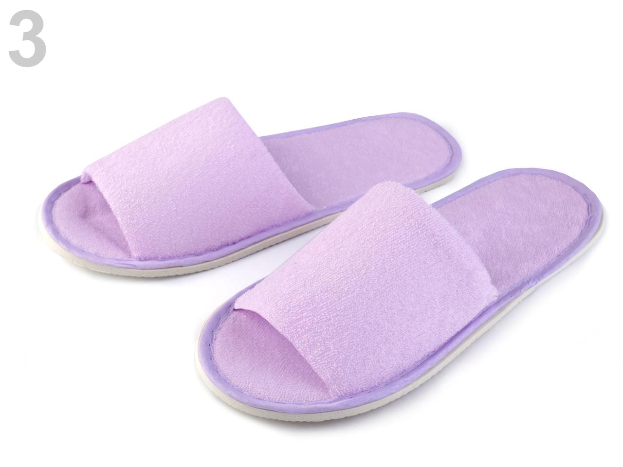 Pantofle textilní 1pár - 92 Kč / pár 3 fialková sv.