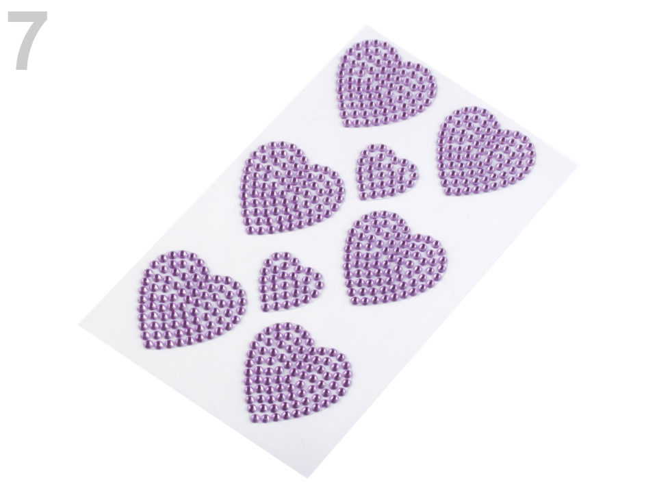 Samolepící srdce z kamínků 1karta - 58 Kč / karta 7 fialová lila