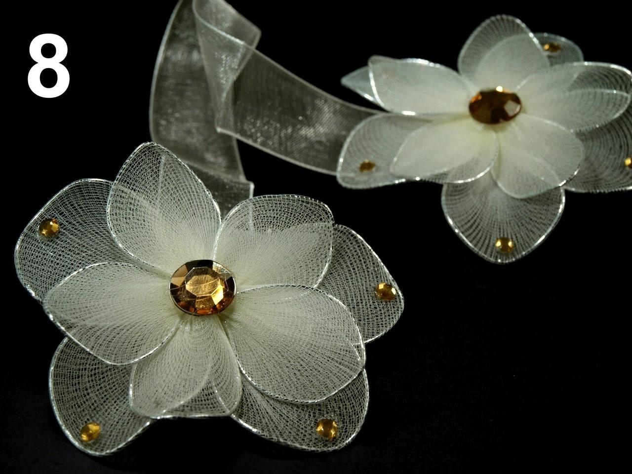 Ozdobná spona na závěsy s magnetem rozměr 8x33cm květina 12ks - 28 Kč / ks 8 béžová sv.