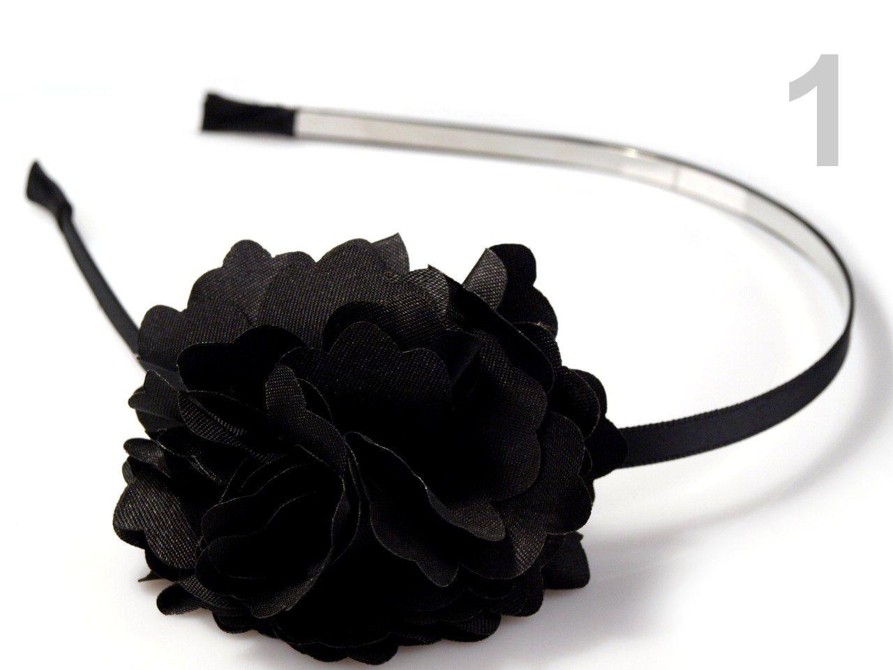 Čelenka kovová s květem Ø 50mm 1ks - 57 Kč / ks 1 černá