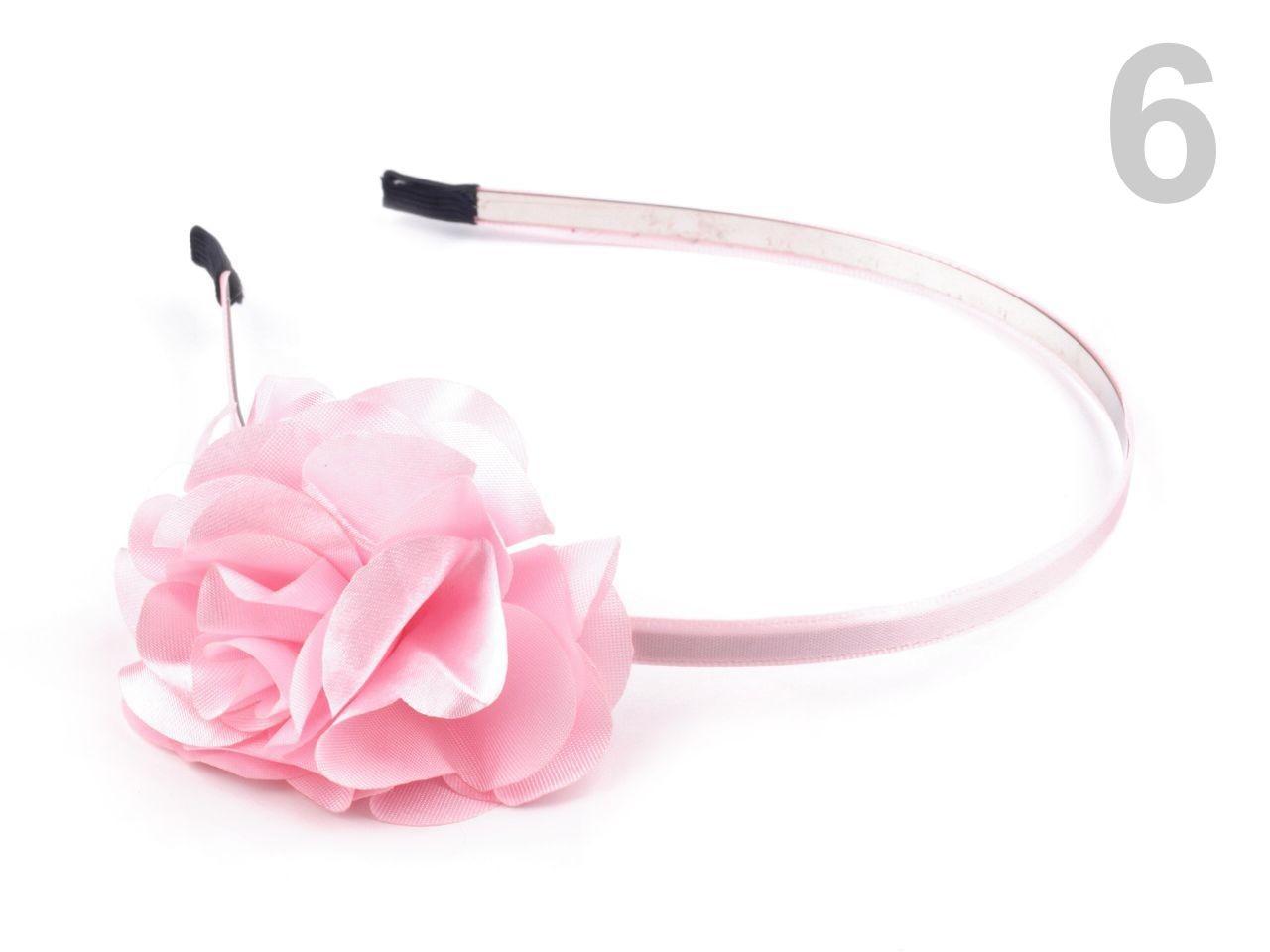 Čelenka kovová s květem Ø 50mm 1ks - 57 Kč / ks 6 růžová sv.