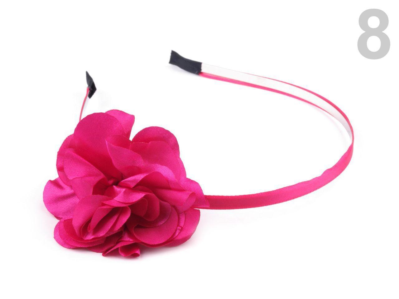 Čelenka kovová s květem Ø 50mm 1ks - 57 Kč / ks 8 růžová malinová