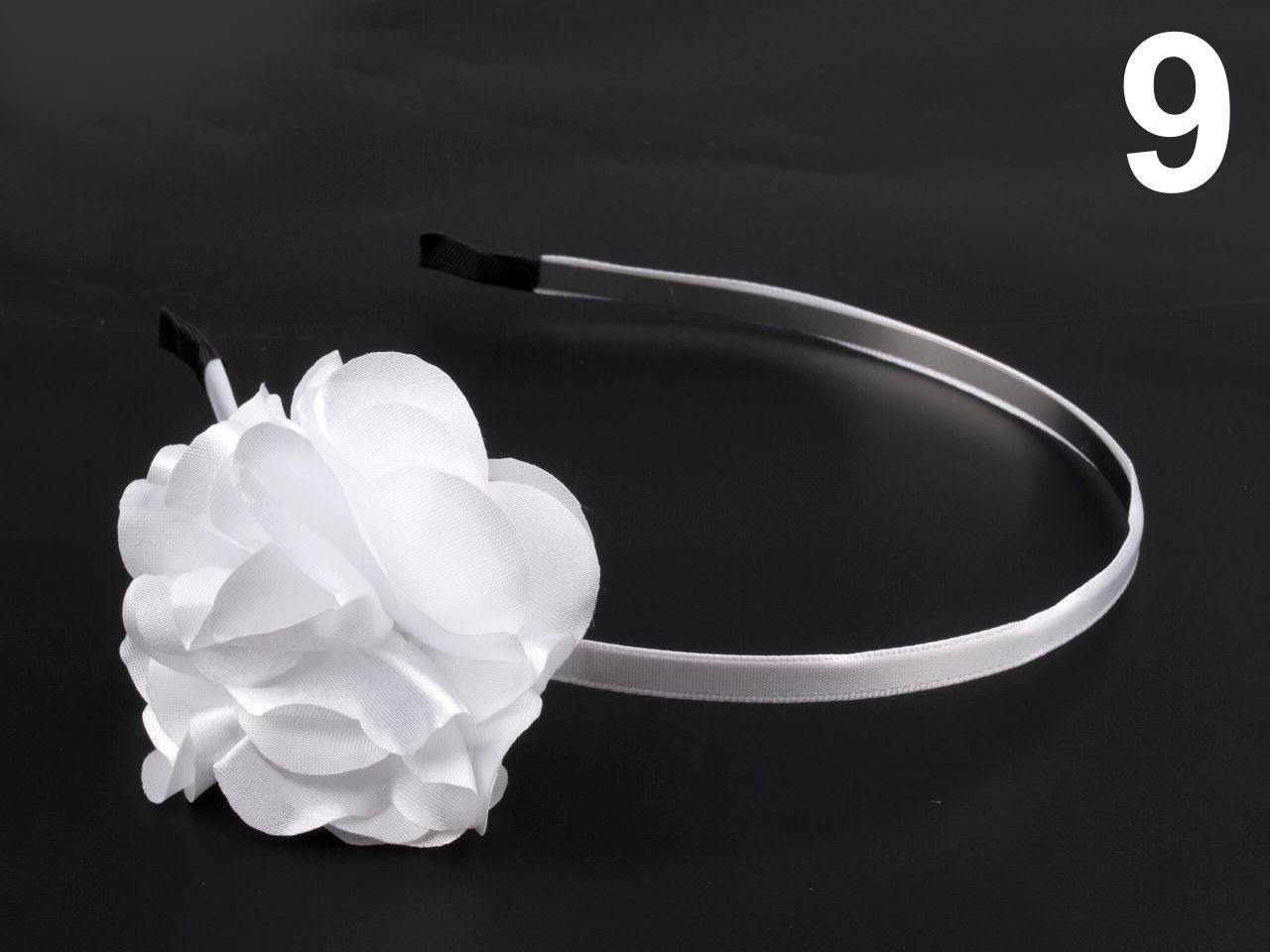Čelenka kovová s květem Ø 50mm 1ks - 57 Kč / ks 9 bílá sněžná