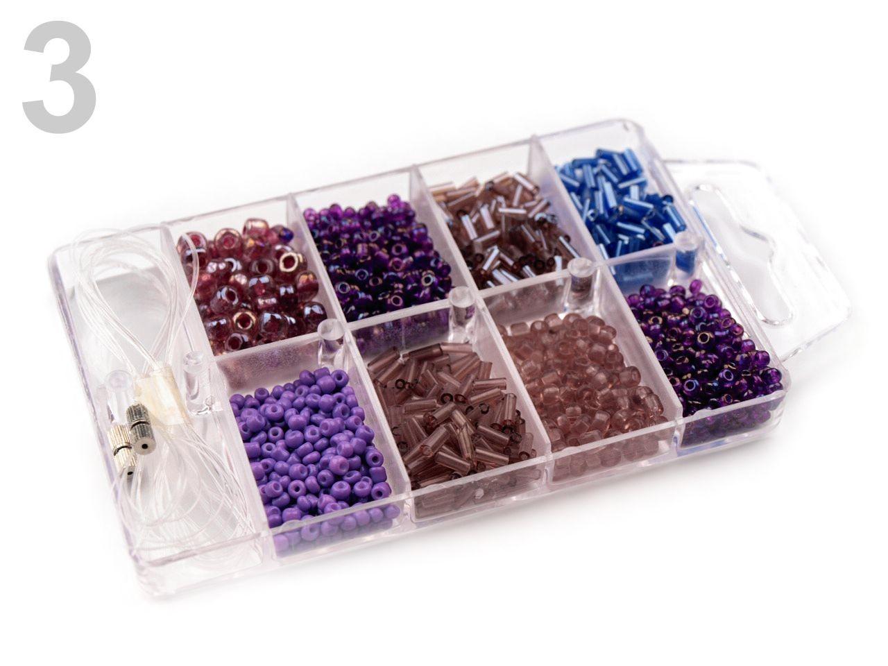 Korálky ROKAJL v plastovém boxu 210878 1krab, - 53 Kč / krab, 3 Dusty Lavender