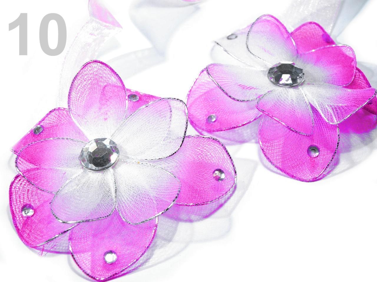 Ozdobná spona na závěsy s magnetem rozměr 8x33cm květina 4ks - 35 Kč / ks 10 růžovofialová