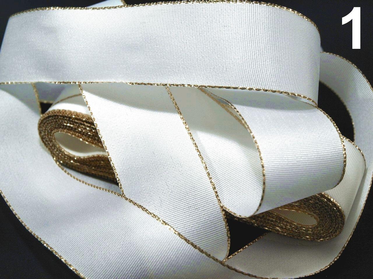 Stuha taftová šíře 25mm ČESKÝ VÝROBEK s lurexem 10m - 8 Kč / m 100 bílá zlatá