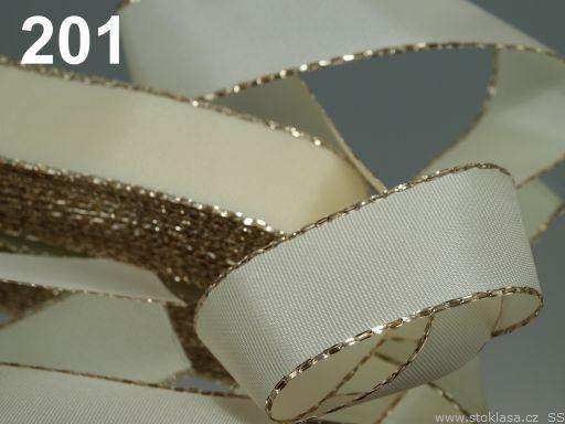 Stuha taftová šíře 25mm ČESKÝ VÝROBEK s lurexem 10m - 8 Kč / m 201 béžová sv. zlatá
