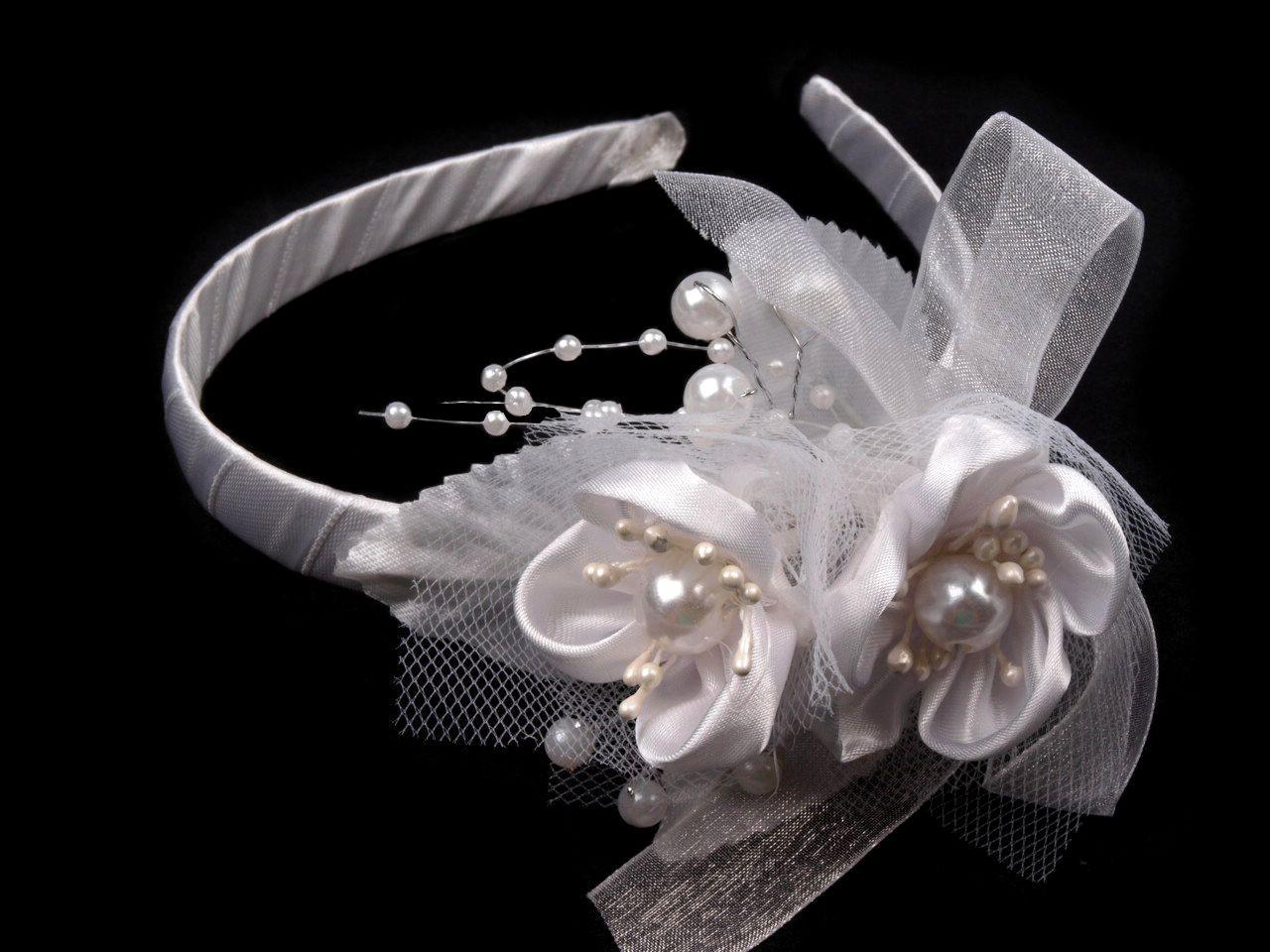 Čelenka do vlasů s květinami 1ks - 66 Kč / ks bílá