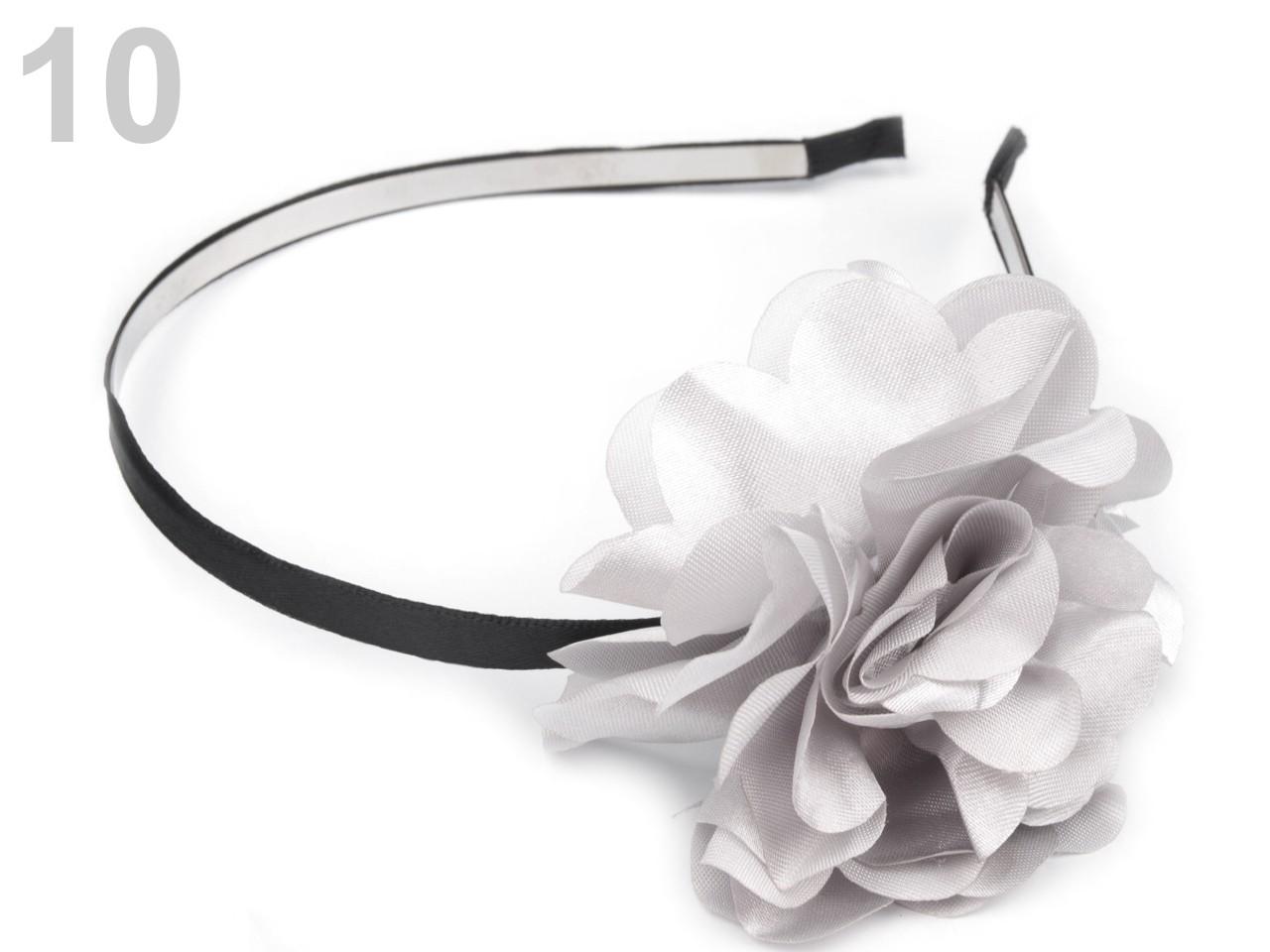 Čelenka kovová s květem Ø 50mm 1ks - 57 Kč / ks 10 šedá nejsv.