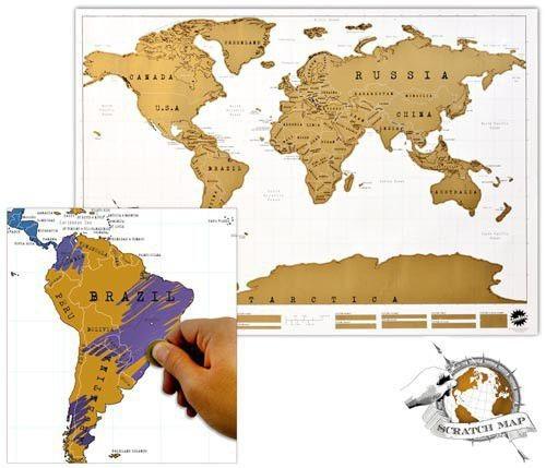 Stírací mapa světa Stírací mapa světa