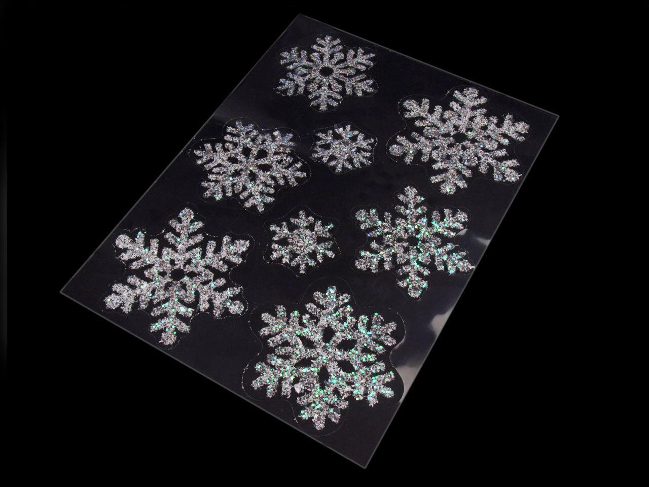 Samolepící dekorace vločky na sklo 1karta - 131 Kč / karta bílá AB