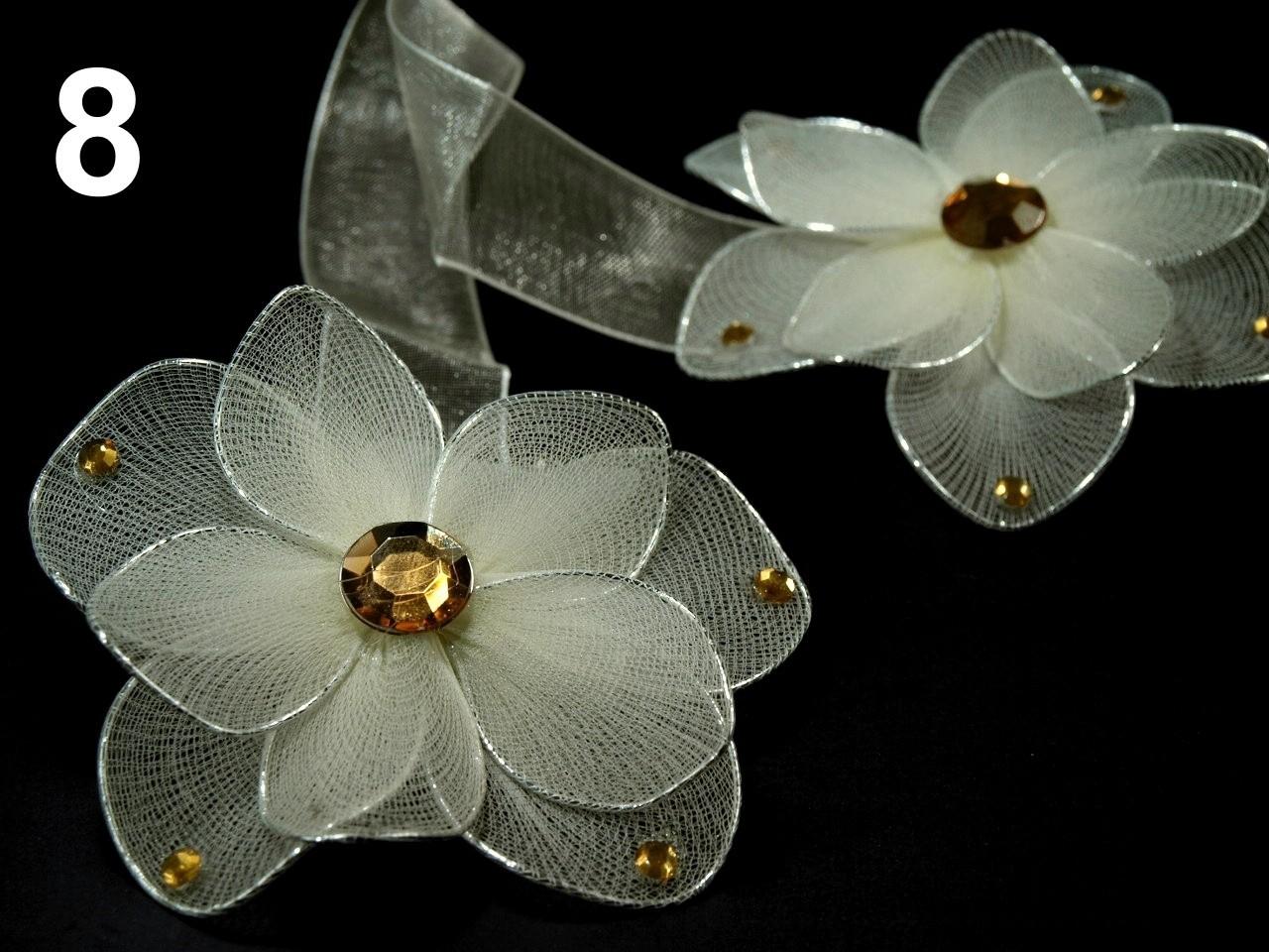 Ozdobná spona na závěsy s magnetem rozměr 8x33cm květina v BÉŽOVÉ barvě