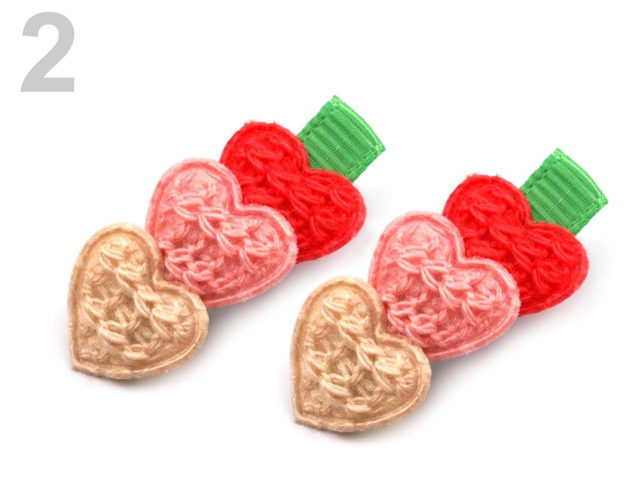 Vlasové srdíčkové sponky 1,5x3,3 cm, barvy srdíček červená, růžová, zlatá